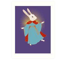 Saint Bunny has your back Art Print