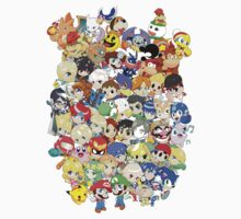 Super Smash Bros. All 58 Characters! Group One Piece - Short Sleeve