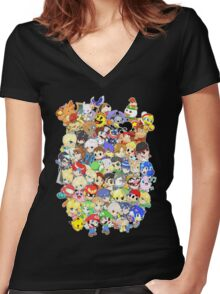 Super Smash Bros. All 58 Characters! Group Women's Fitted V-Neck T-Shirt