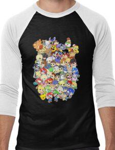 Super Smash Bros. All 58 Characters! Group Men's Baseball ¾ T-Shirt