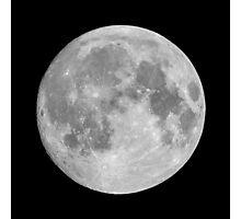 Full moon on black sky background Photographic Print