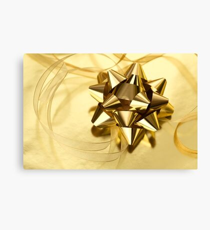 Gold Christmas bow& ribbon  Canvas Print