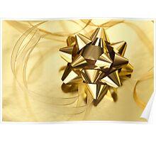 Gold Christmas bow& ribbon  Poster