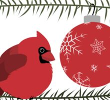 Red Cardinal and Ornaments Sticker