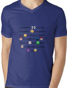 Santa Claus Is Coming To Town Christmas Song Emoji Mens V-Neck T-Shirt