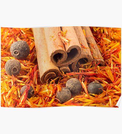 Cinnamon, peppercorn and saffron close-up Poster
