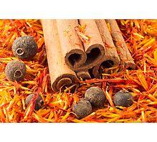 Cinnamon, peppercorn and saffron close-up Photographic Print