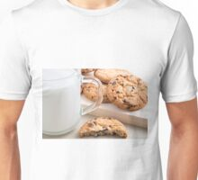 Glass cup with milk and oatmeal cookies with chocolate Unisex T-Shirt