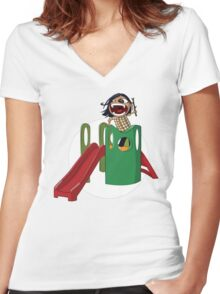 Slide of Shoutyness Women's Fitted V-Neck T-Shirt