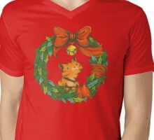 Orange Tabby Cat in a Holiday Wreath Mens V-Neck T-Shirt