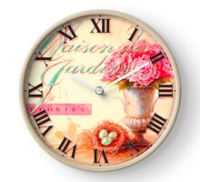 027 Wall Clock Pink flowers with eggs Clock