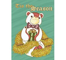 Patchwork Teddy Bear with Gold Garland Photographic Print
