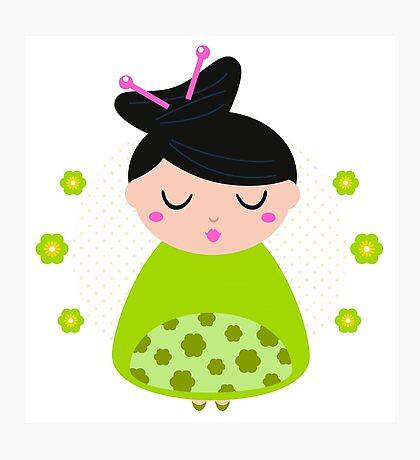 Cute beautiful spring Geisha : Floral green Photographic Print