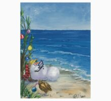 Snowman relaxing while friend Kiwi decorates for Christmas  One Piece - Short Sleeve