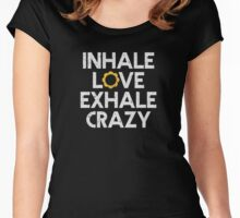 Inhale Love, Exhale Crazy (White Type) - Yoga Wear Women's Fitted Scoop T-Shirt