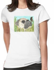 Pug Dog Butterfly Animals Cathy Peek Art Womens Fitted T-Shirt