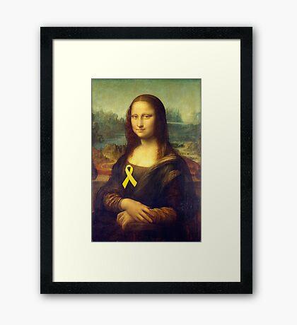 Mona Lisa With Yellow Ribbon Framed Print