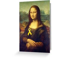 Mona Lisa With Yellow Ribbon Greeting Card