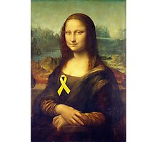 Mona Lisa With Yellow Ribbon Photographic Print