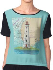 Cape Sable Lighthouse NS Canada Map Cathy Peek Art Chiffon Top