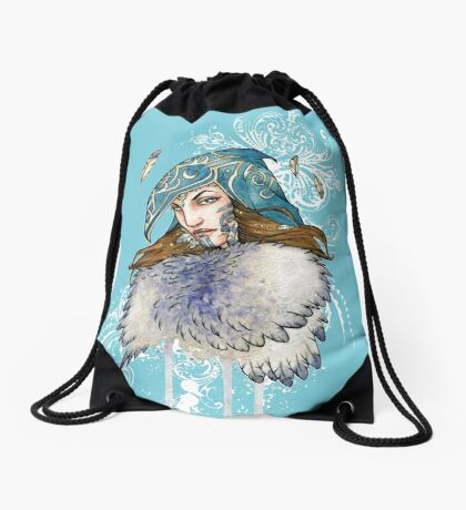 Goddess of Feathers & Flight Drawstring Bag
