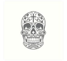 Sugar Skull Grey Art Print