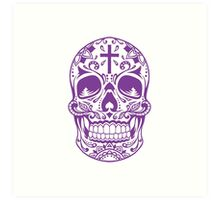 Sugar Skull Purple Art Print