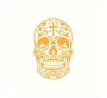 Sugar Skull Yellow Art Print