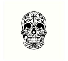 Sugar Skull Black Art Print