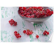 Ripe red currants in a metal plate Poster