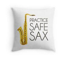 Practice Safe Sax Throw Pillow