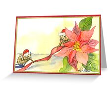 Kiwi and Poinsettia Christmas Fun Greeting Card