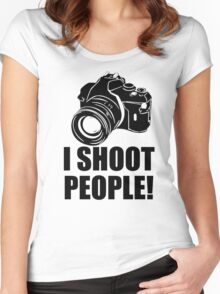 I Shoot People T-Shirt Funny Photographer TEE Camera Photography Digital Photo Women's Fitted Scoop T-Shirt