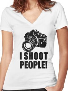 I Shoot People T-Shirt Funny Photographer TEE Camera Photography Digital Photo Women's Fitted V-Neck T-Shirt