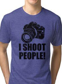 I Shoot People T-Shirt Funny Photographer TEE Camera Photography Digital Photo Tri-blend T-Shirt