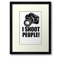 I Shoot People T-Shirt Funny Photographer TEE Camera Photography Digital Photo Framed Print