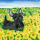 Scottie Dog 'Among The Sunflowers' watercolour by archyscottie