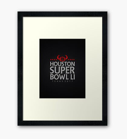 Super Bowl LI 2017 horns blk Framed Print
