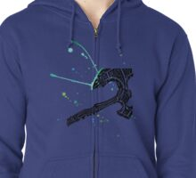 Watercolor Axe  Zipped Hoodie