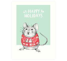 A Festive Mouse Art Print