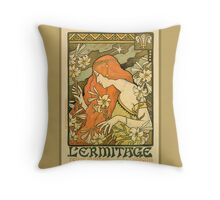 Antique Art Nouveau,  Pre-Raphaelite, Botanical, Decorative Art Poster Throw Pillow