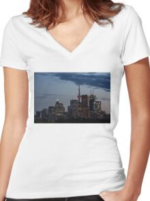 Toronto Skyline at Dusk Women's Fitted V-Neck T-Shirt