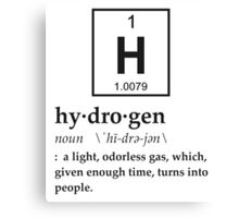 Anthropomorphic Definition of Hydrogen Canvas Print
