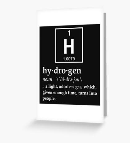 Anthropomorphic Definition of Hydrogen Greeting Card