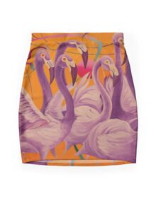 Purple Flamingo Mini Skirt