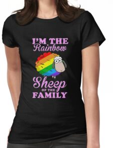 rainbow sheep family Womens Fitted T-Shirt