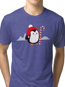 Kawaii Christmas Penguin Tri-blend T-Shirt