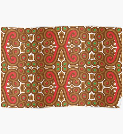 Gingerbread pattern Poster