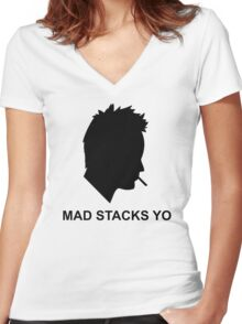 Jesse Pinkman Aaron Paul Mad Stacks Yo Breaking Bad White T Shirt S 5XL (Mens) and S 2Xl (Womens) Women's Fitted V-Neck T-Shirt