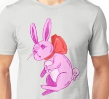 Confused Pink Bunny in Red Bow Unisex T-Shirt